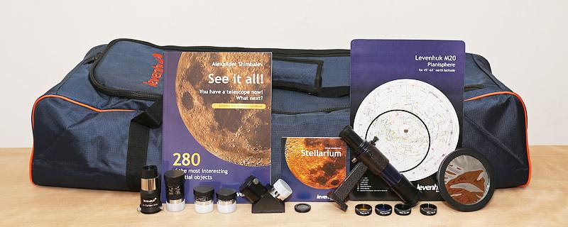 Телескоп Levenhuk Strike 900 PRO имеет уникальную сверхширокую комплектацию дополнительными аксессуарами