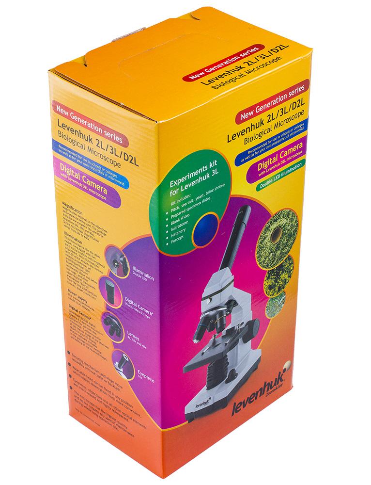 Красочная фирменная упаковка микроскопов Levenhuk Rainbow 2L NG