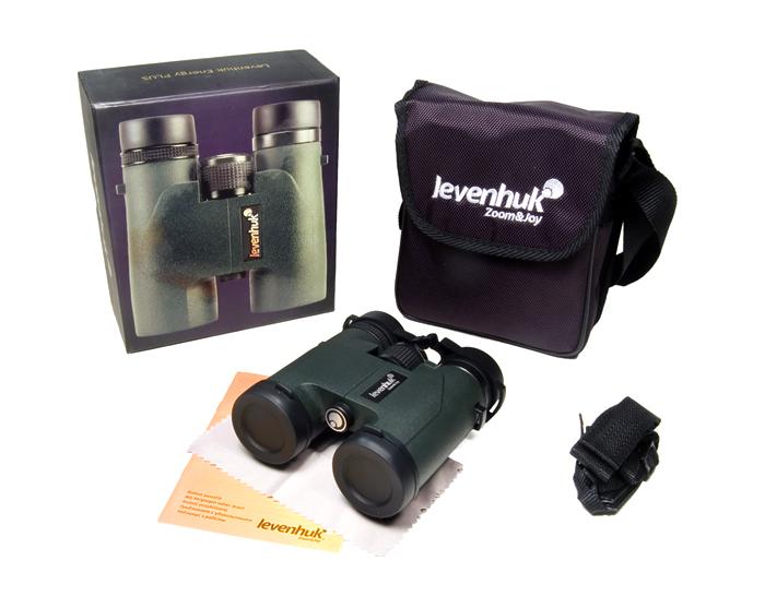 Бинокль Levenhuk Energy PLUS 10x32: в комплекте: бинокль, ремешок, чехол, защитные крышки на окуляры и объективы, салфетка для оптики, инструкция и гарантийный талон