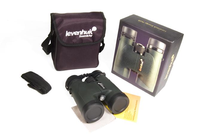 Бинокль Levenhuk Energy PLUS 8x42: в комплекте: бинокль, защитные крышки на объективы и окуляры, ремешок, чехол, салфетка для оптики, инструкция и гарантийный талон