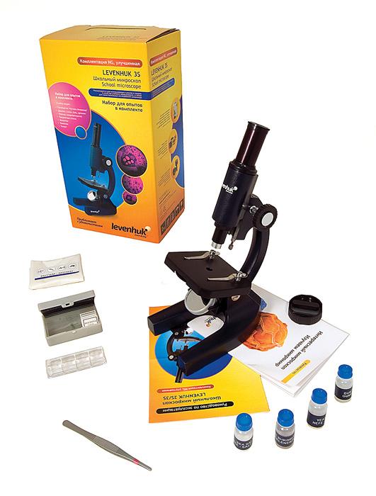 Микроскоп Levenhuk 3S NG: в комплекте: микроскоп, окуляр 12,5х, предметный столик с зажимами, плоско-вогнутое зеркало для освещения, инструкция, упаковочная коробка и набор для опытов Levenhuk K50