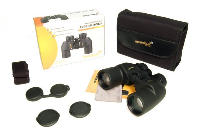 Бинокль Levenhuk Energy 12x50: в комплекте: бинокль, крышки объективов, крышка окуляров, ремешок, чехол, салфетка, инструкция, упаковочная коробка